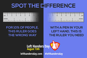 Spot the difference - left-handed rulers