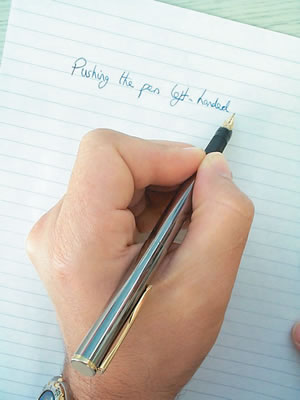 Write smoothly with a left handed pen